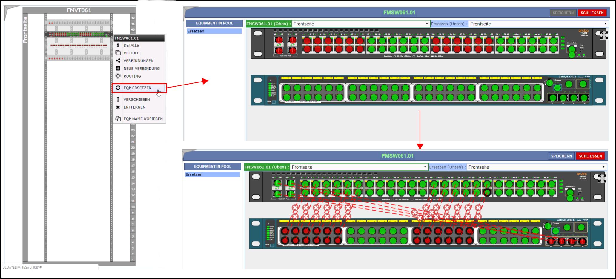 Austausch von Equipment mit Übernahme der Verbindungen / Connections