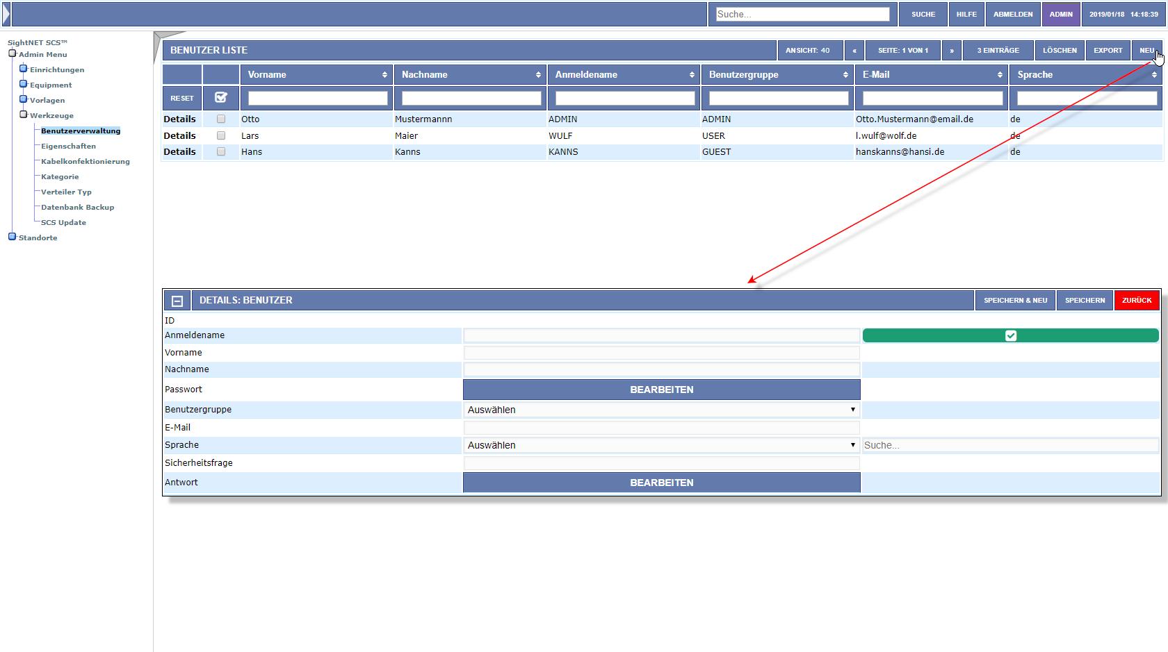 Benutzerverwaltung & Rechtevergabe zur Netzwerk Dokumentations Software