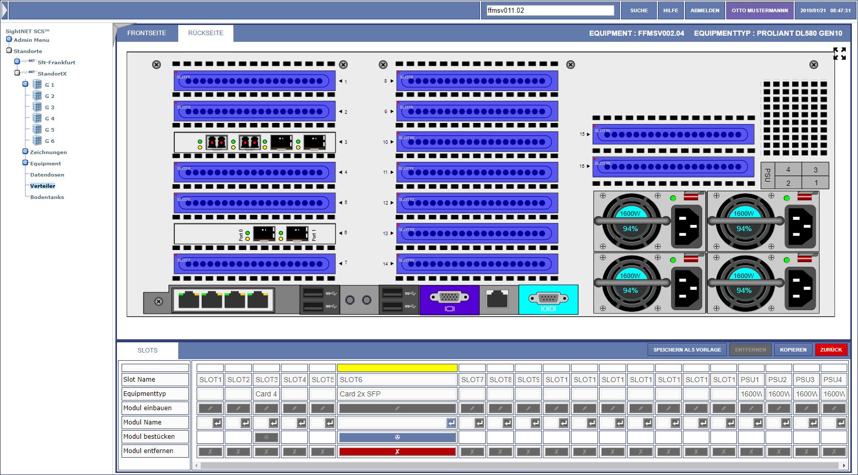 Proliant DL580 Server, Rückseite mit verbauten Modulen