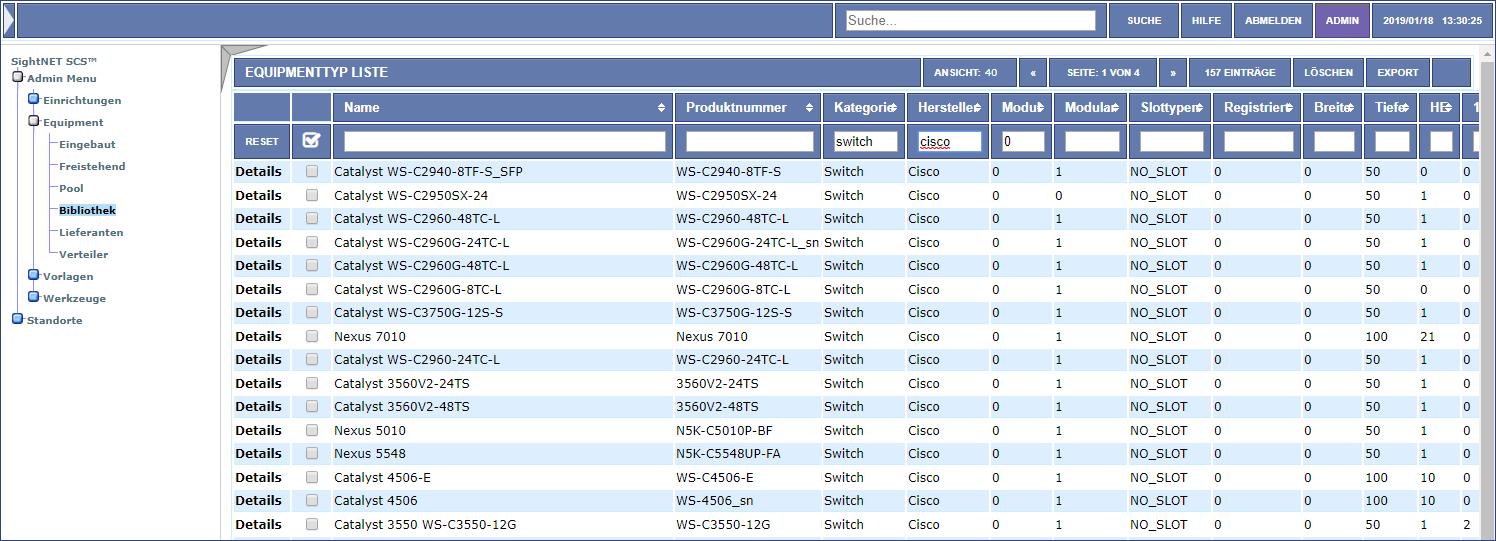 Verwaltung aller Netzwerkkomponenten in der Bibliothek - ca. 6000 verfügbar