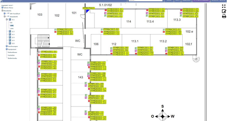 Datendosen, Accesspoints und weitere Netzwerkkomponenten auf einem Grundriss platziert.