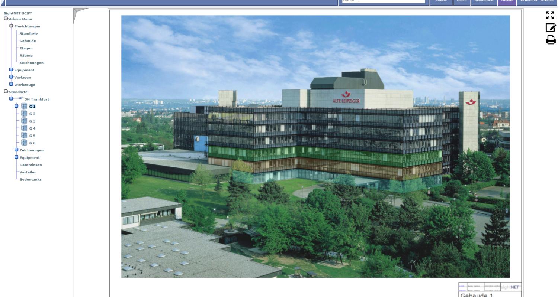 Hauptgebäude mit farblich gekennzeichneten Etagen als Link zu den dazugehörigen Grundrissen.