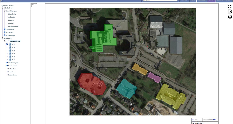 Luftaufnahme eines Firmengrundstücks mit verlinkten Gebäuden als Übersicht der Netzwerkdokumentation.