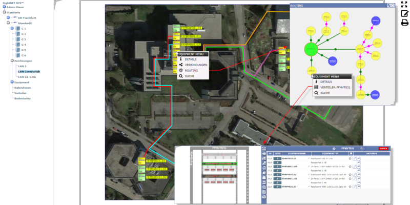 Routing und LAN sowie Equipment in der Suchfunktion von SCS